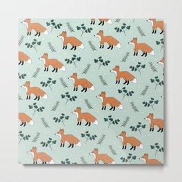 Fox mint cute woodland autumn forest kids boys animal design pattern print Metal Print