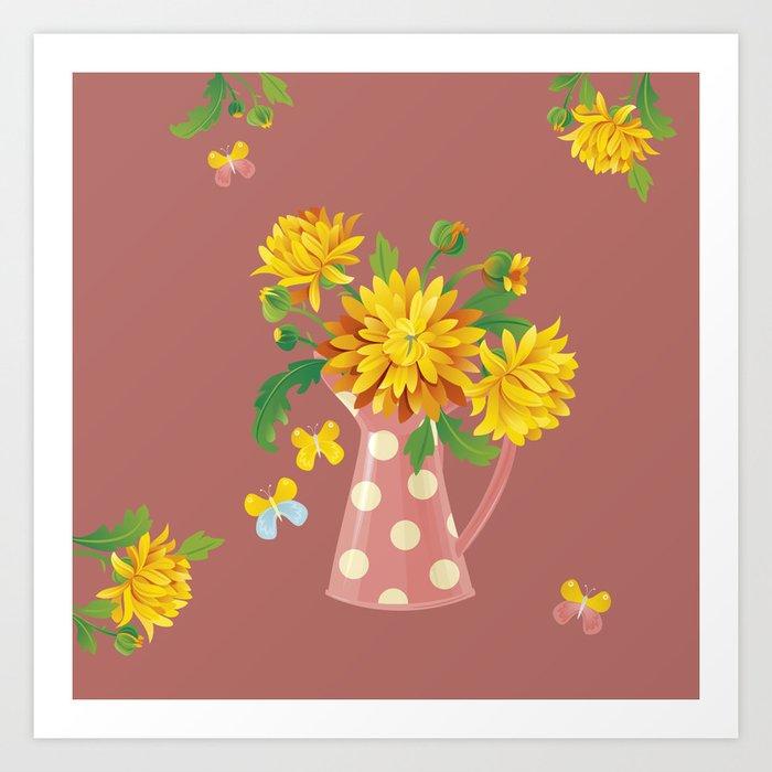 Fragrant Autumn Chrysanthemums Art Print