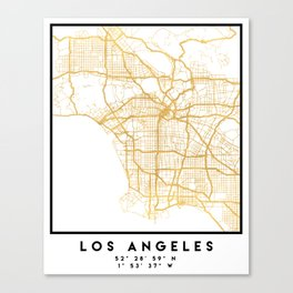 LOS ANGELES CALIFORNIA CITY STREET MAP ART Canvas Print