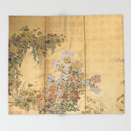Japanese Edo Period Six-Panel Gold Leaf Screen - Spring and Autumn Flowers Throw Blanket