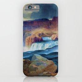 Horseshoe Falls, Snake River, Idaho waterfall landscape painting by Thomas Moran iPhone Case