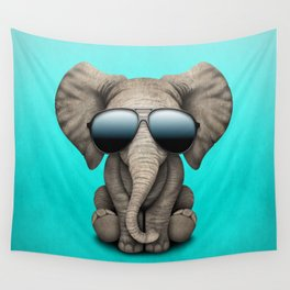 Cute Baby Elephant Wearing Sunglasses Wall Tapestry