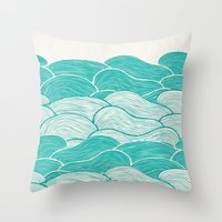 jazzberry Throw Pillows featuring The Calm and Stormy Seas by Pom Graphic Design