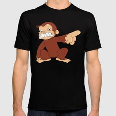 Furious George Funny Monkey Cartoon Animal Mens Fitted Tee Black LARGE