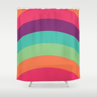 70s Shower Curtains featuring 70s Flair by Daniel Bevis