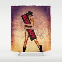 rihanna Shower Curtains featuring Rihanna Rudeboy by Bethan Eastwood