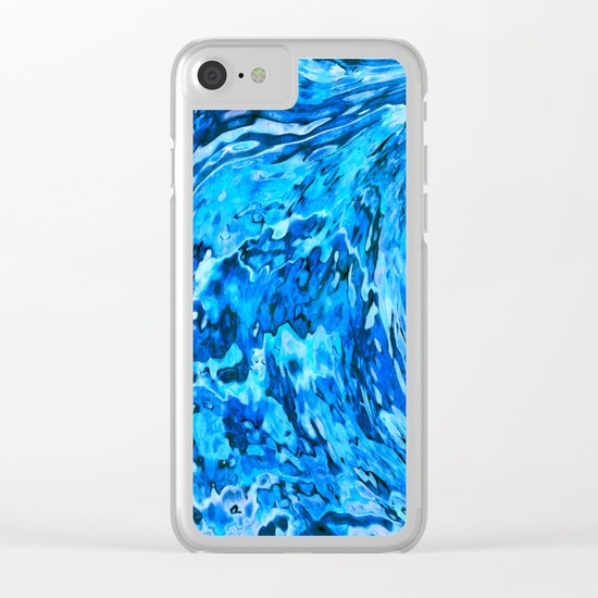 Blue wave abstract Clear iPhone Case