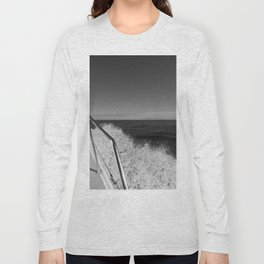 Sailing in the wind through the waves, Boat, Black and White photography #Society6 Long Sleeve T-shirt