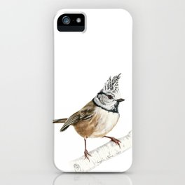 European crested tit, Lophophanes cristatus iPhone Case