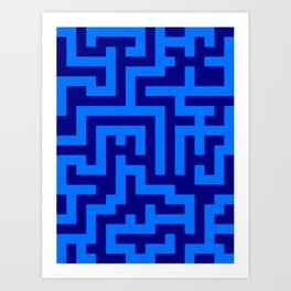 Brandeis Blue and Navy Blue Labyrinth Art Print