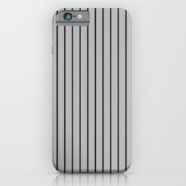 Dark Grey on Silver Pinstripes | Vertical Narrow Pinstripes | iPhone Case