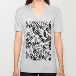 Watercolor branches - black and white Unisex V-Neck