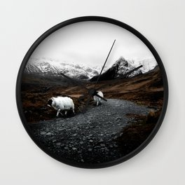 SHEEP - MOUNTAINS - SNOW - ROAD - PHOTOGRAPHY - FUNNY Wall Clock