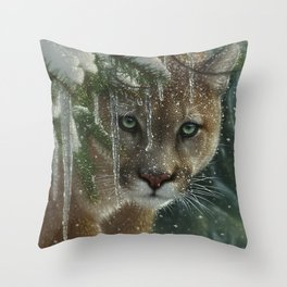 Cougar / Mountain Lion - Frozen Throw Pillow