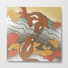 Autumn Chipmunks Metal Print