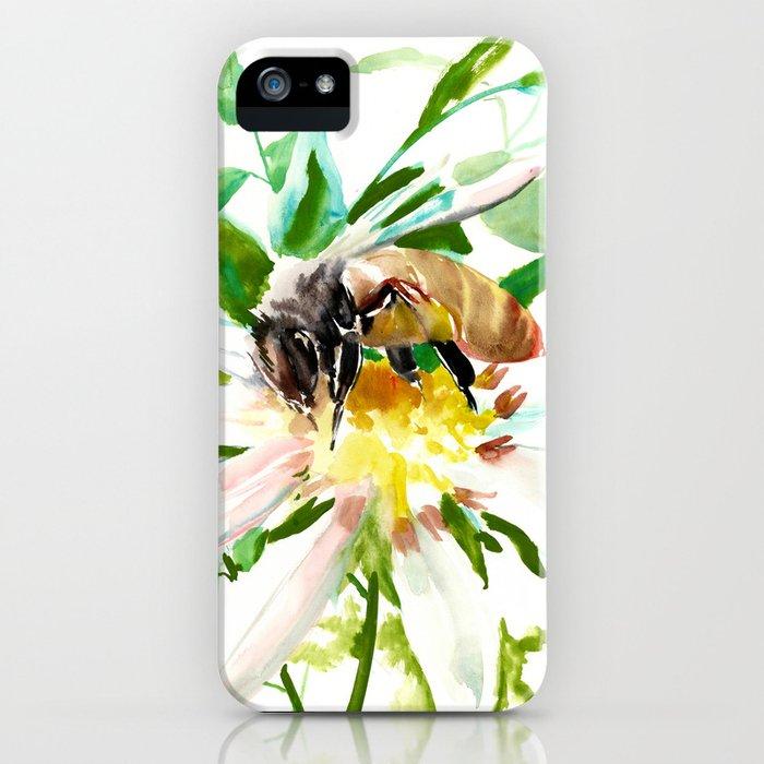 Bee and Flower, Honey Bee, chamomile herbal honey design iPhone Case