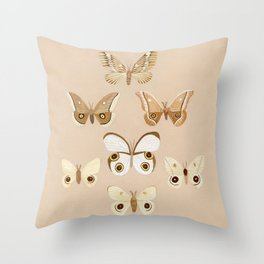 pale moths Throw Pillow