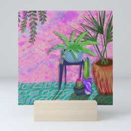 plants on pink Mini Art Print