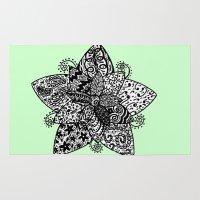 flower pattern Area & Throw Rugs featuring Flower pattern by BlackBlizzard