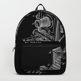 Vintage Camera Patent - White on Black Backpack