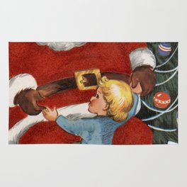 Santa Claus dancing with a child Rug