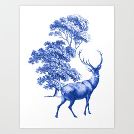Classic French Toile Countryside Deer Pattern Art Print