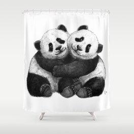 Panda's Hugs G143 Shower Curtain