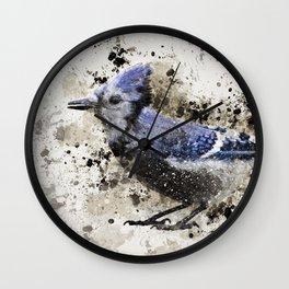 BlueJay Splatter Wall Clock