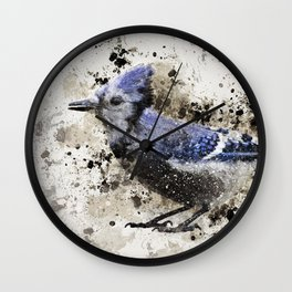 BlueJay Splatter Wall Clock