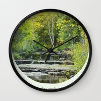 fitzgerald Wall Clocks featuring fall leaves + f scott fitzgerald by lissalaine