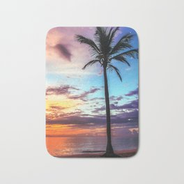 Tropical Palm Tree Sunset Bath Mat