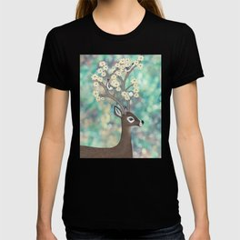 white tailed deer, white breasted nuthatches, & dogwood blossoms T-shirt