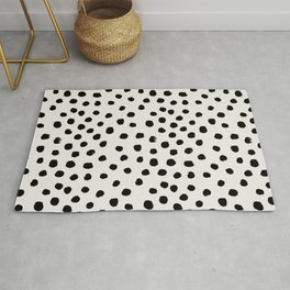 Preppy brushstroke free polka dots black and white spots dots dalmation animal spots design minimal Rug