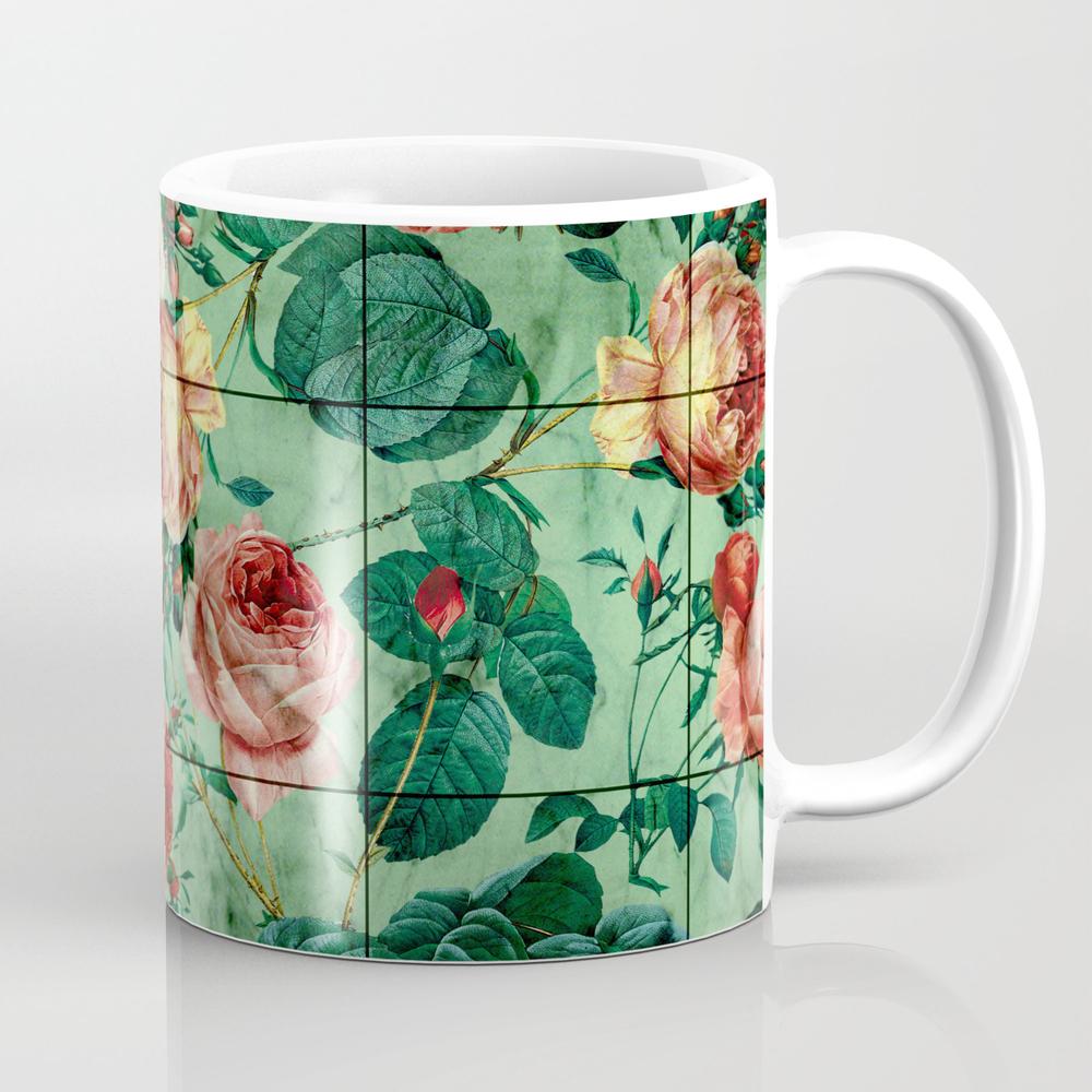 Floral And Marble Texture Mug by Burcukorkmazyurek MUG4441858