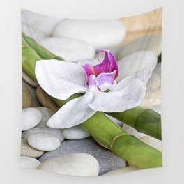 white Orchid flower  and green Bamboo still life Wall Tapestry
