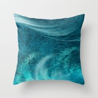 aqua Throw Pillows featuring aqua by haroulita