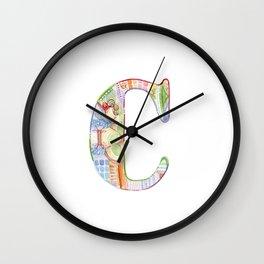 Letter C - Watercolor Monogram - Colorful Lettering - Watercolor Letter Print - Watercolor Initial Wall Clock