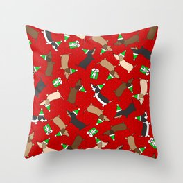 Merry Dachshunds Throw Pillow