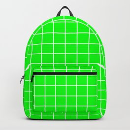 Electric green - green color - White Lines Grid Pattern Backpack