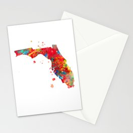 Florida State Map Watercolor Painting Stationery Cards