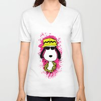 snoopy V-neck T-shirts featuring Snoopy Dog by Mateus Quandt