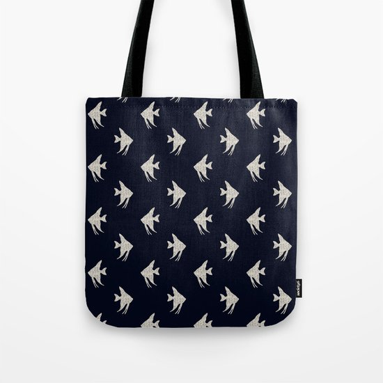 White fishes on Navy blue maritime sea design Tote Bag