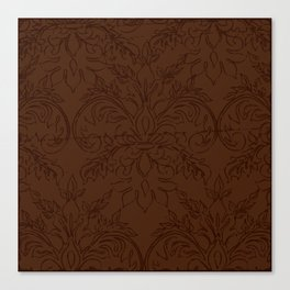 Dark Chocolate Damask Line Work Fleur de Lis Pattern Artwork Canvas Print