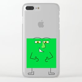 Green Square Guy Clear iPhone Case