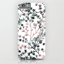 Abstract Black Rose Gold Watercolor Leaves Flowers iPhone Case