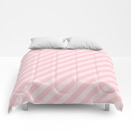 Light Millennial Pink Pastel Candy Cane Stripes Comforters