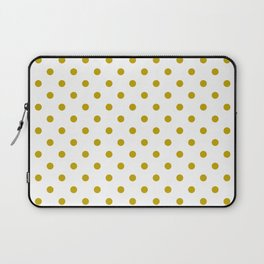White and Gold Polka Dots Laptop Sleeve