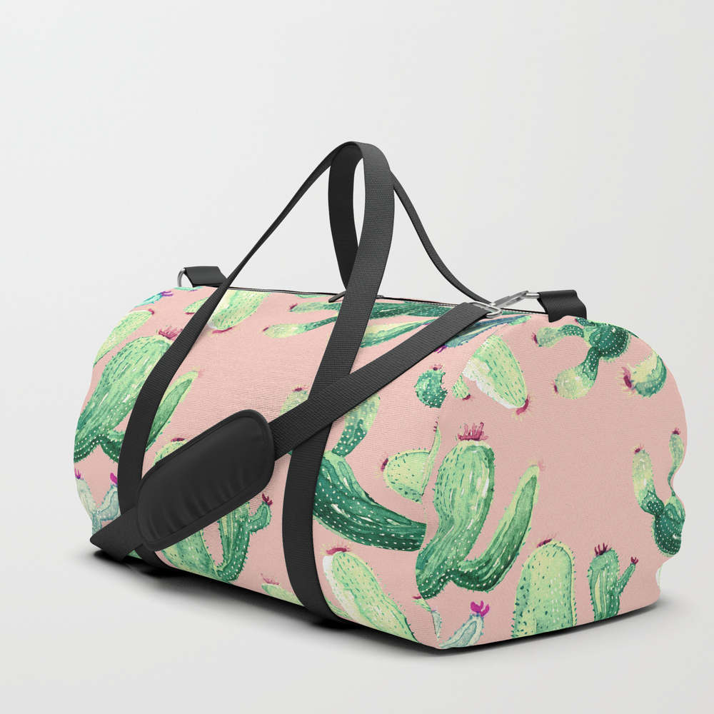 Savage Cactus On Pink @society6 Duffle Bag by Francis0co DFL7889131