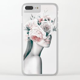 WOMAN WITH FLOWERS 11 Clear iPhone Case