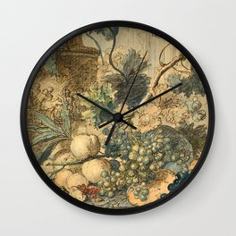 "Jan van Huysum ""Still life with flowers and fruits"" (drawing) Wall Clock"
